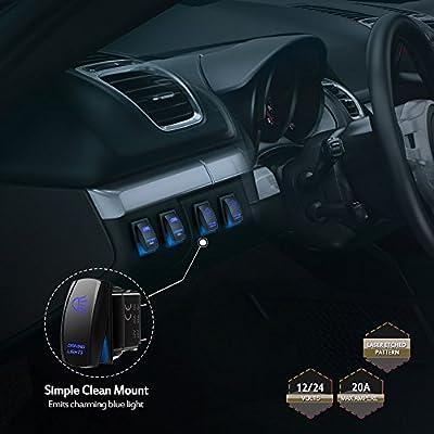 MicTuning MIC-LSD1, 5 Pin Driving Lights Rocker Switch, On-Off LED Light, 20A 12V, Blue: Automotive