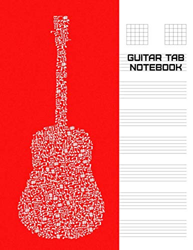 Guitar Tab Notebook: Large Staff Paper for Composing 6 String Guitar Music, Chords, and Lyrics [White Abstract Guitar on Red Background]