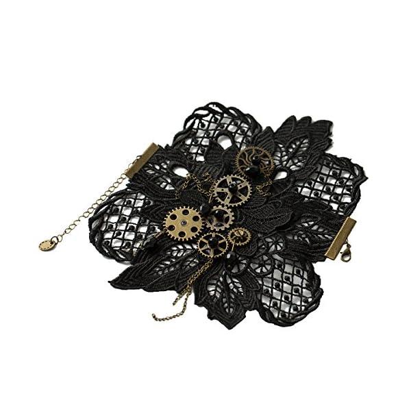 KOGOGO Steampunk Lace Bracelet Lolita Wrist Cuff with Gears 4
