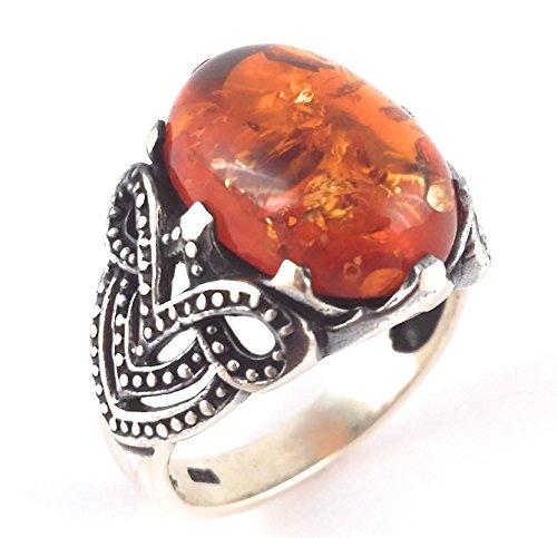 925 Sterling Silver & Amber Turkish Handmade Ottoman Men's Luxury Ring (11.5)