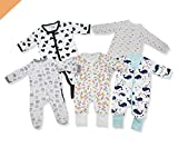 Kawaii Baby Cotton Bodysuits and Sleepers, Baby Bodysuit, Cotton Sleepers for Baby Boy & Girl - Pack of 5 - Ship from Canada.