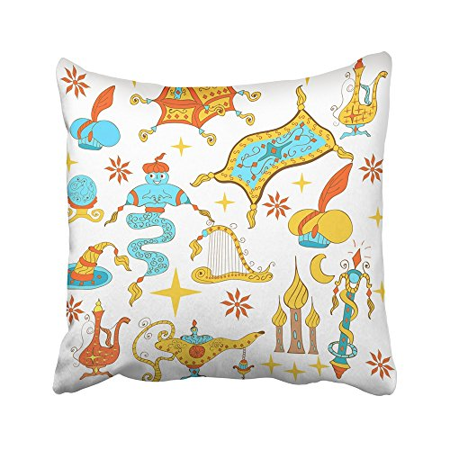 Emvency Decorative Throw Pillow Covers Cases Fairytale Aladdin Story Jinn Genie Gold Magic Lamp Like Flying Carpet Treasure Chest Harp Wizard 20X20 Inches Pillowcases Case Cover Cushion Two Sided ()