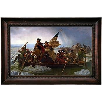 Leutze Washington Crossing the Delaware Wood Framed Canvas Print Repro 19x32