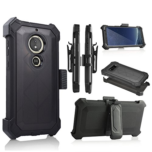 For Motorola Moto E5 Play/E5 Cruise/XT1921 Case Phone Case 360° Cover Screen Protector Clip Crystal Holster Kick stand Armor Grip Sides Shock Bumper (BLACK) (Zte Phone Screen Lg)