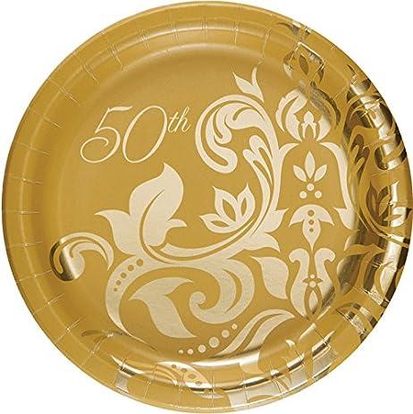Golden 50th Anniversary 6 7/8-inch Paper Plates 18 Per Pack  sc 1 st  Amazon.com & Amazon.com: Golden 50th Anniversary 6 7/8-inch Paper Plates 18 Per ...