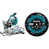 Makita XSL04ZU 18 Volt X2 LXT Lithium-Ion (36V) Brushless Cordless 10 inch Dual-Bevel Sliding Compound Miter Saw, AWS and Laser with B-66977 10 inch 80T Carbide-Tipped Max Efficiency Miter Saw Blade