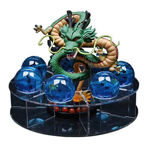 LooQin Dragon Ball Action Shenron Figure with Dragonballs Crystal Ball Set 3.5cm Dragon Ball with Shelf Desk Decoration