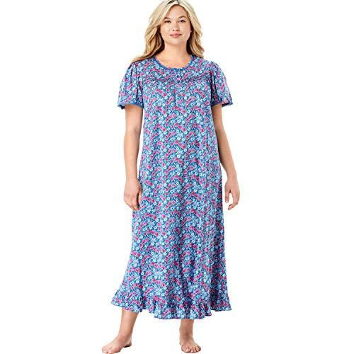 Dreams & Co. Women's Plus Size Long Floral Print Cotton Gown - Bright Berry Floral, 1X
