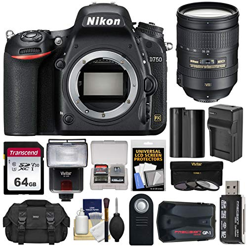 Nikon D750 Digital SLR Camera Body with 28-300mm VR Lens + 64GB Card + Battery & Charger + Case + Filters + GPS + Flash Kit (Gps Nikon Slr)