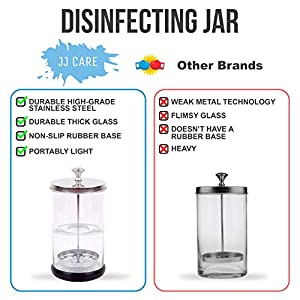 [PREMIUM] Disinfectant Jar (21 Oz) Disinfecting Jar with Removable Basket and Stainless-Steel Parts for Barber Tools - Salon Disinfectant Glass Jar for Manicure, Pedicure Tools Esthetician Supplies