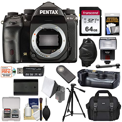 (Pentax K-1 Mark II Full Frame Wi-Fi Digital SLR Camera Body with D-BG6 Grip + 64GB Card + Battery + Case + Flash + Tripod + Kit)