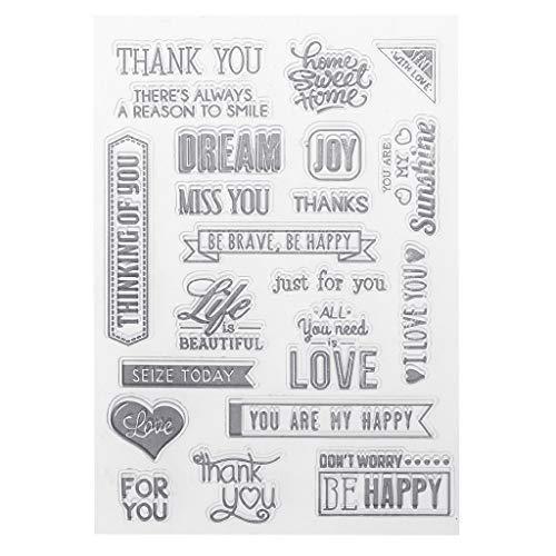 PVC Transparent Stamp Seal Fancy Font Cute Letters Patterns DIY Scrapbook Photo Album Card Diary Decor