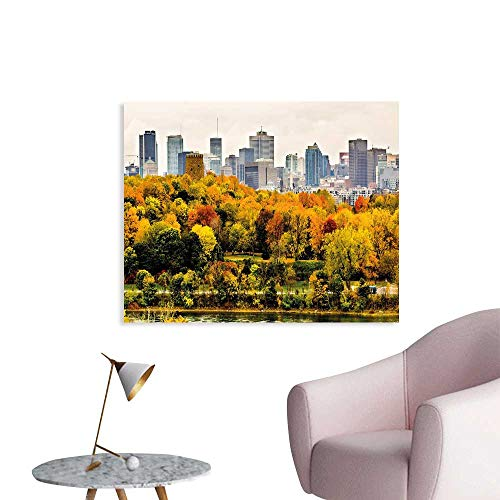 J Chief Sky Fall Wall Decoration Montreal Downtown Skyscrapers Autumn Various Trees Colorful Forest Urban Life Nature Wallpaper Mural W32 xL24