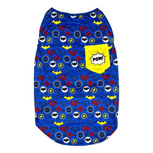 DC Comics Sleeveless T-Shirt for Dogs | DC Superheroes Logo Pattern Dog Tank Top | Blue, Medium
