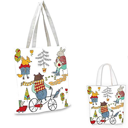 (Animal canvas shoulder bag Bear on Bicycle Fox in Raincoat and Bunny with a Teapot Urban Forest Characters small tote shopping bag Multicolor. 13