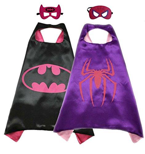 Superhero Costume Super Hero Cape And Mask Dress Up 2 Set For Kids (Batgirl-Spidergirl) for $<!--$16.98-->