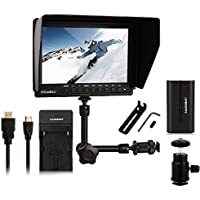 Feelworld FW-760 + EACHSHOT Battery + Charger + Magic Arm, 4K HDMI Output 7 Video Monitor IPS Full HD 1920x1200 HDMI 1080p for BMPCC for Dslr Camera Canon Nikon Sony