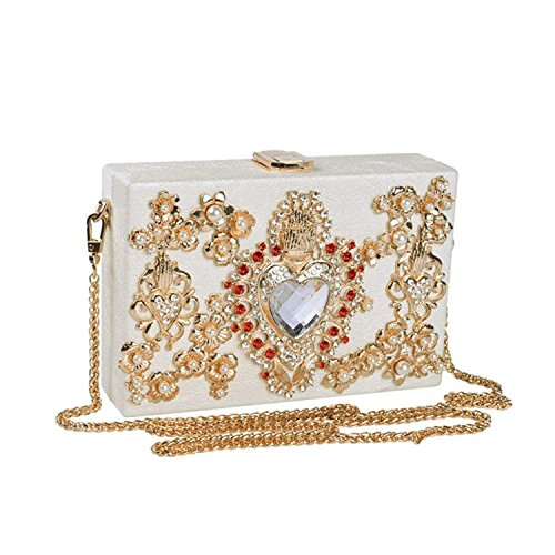 Clutch Bags Party Flower Lady Diamonds Purse White Women ON Handbag Rhinestone Rising Bags Evening Box Hollow Wedding Crossbody fxwpqnU