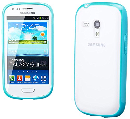 iCues Case Compatible with Samsung Galaxy S3 Mini TPU Rubber Gel Soft Silicone Bumper Matt Back Light Blue [Screen Protector Included] Cover Shell Shookproof