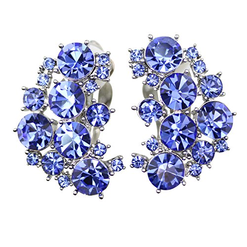 (Faship Clip On Earrings Stunning Blue Crystal)