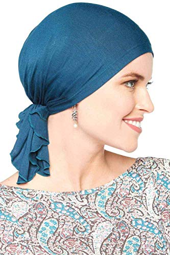 - Bamboo Slip-On Pre-Tied Scarf-Caps for Women with Chemo Cancer Hair Loss Luxury Bamboo - Pacific Blue