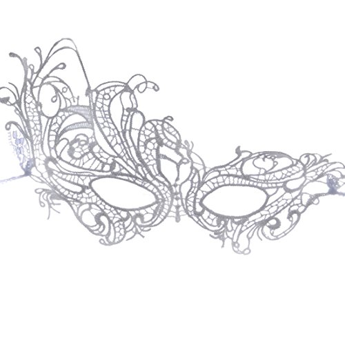 ACVIP Women's Black Lace Masquerade Masks Halloween Party Prom (B-White)]()