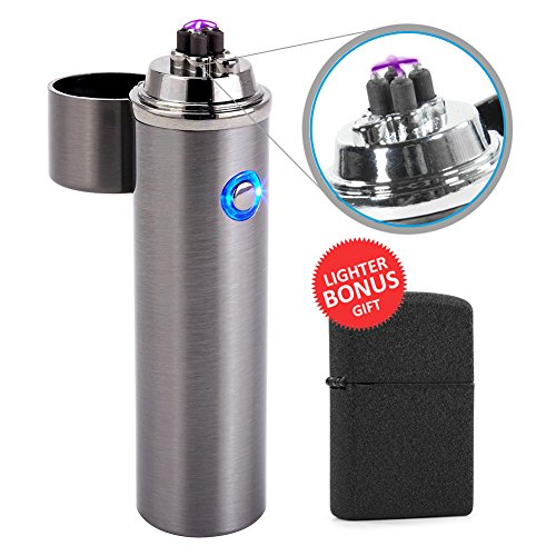 Electric Rechargeable Flameless Plasma Arc Lighter, USB Windproof Dual X Beam Cigarette Lighters, Push Button TSA Approved & Energy Saving (Steel Silver)