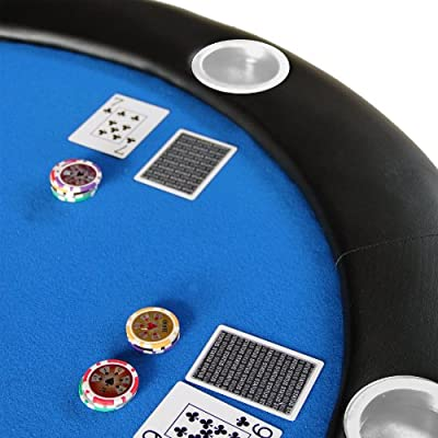"Azul Texas Hold 'em 84 ""reproductor de 10 plegable mesa de póquer parte superior w/inoxidable taza de acero: Deportes y aire libre"
