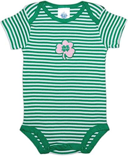 Creative Knitwear University of Notre Dame Fighting Irish Shamrock Striped Baby Bodysuit