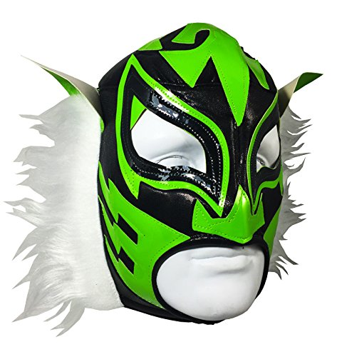 [WHITE TIGER Adult Lucha Libre Wrestling Mask (pro-fit) Costume Wear - Black/Green] (Wwe Wrestling Costumes For Adults)