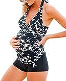 MAXIMGR Women Maternity Retro Floral Print Tankini Swimsuit with Boyshorts Swim Tank Top Size M (Black)