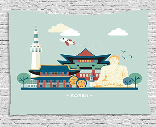 Lunarable Korea Tapestry, South Korean Traditional Tourist Attractions Spiritual Statues Classic Architecture, Wall Hanging for Bedroom Living Room Dorm, 60 W X 40 L Inches, Multicolor - Korean Wall Hanging