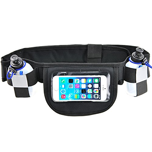 Free Runner presents: Hydration running belt with 2 water bottles, Running belt fits Iphone 6/7, Running water belt with Touchscreen