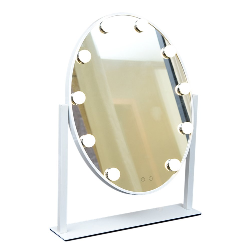 Geek-House Elliptical Hollywood Tabletops Lighted Makeup Vanity Mirror (10 LED Bulb) with Dimmer Angle-Adjustable White