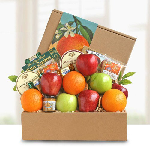 Healthy Snacks Care Package | Fruit and Cheese Gift Box by Gift Baskets to Impress