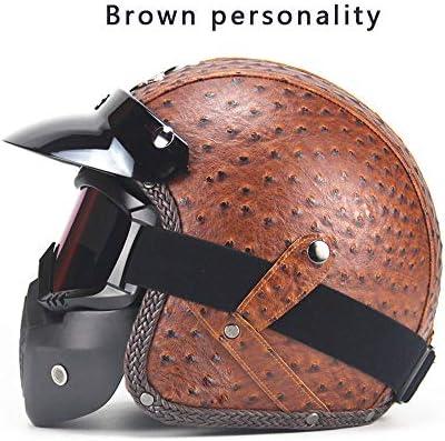 Four Seasonsヴィンテージヘルメット手作りパーソナリティオートバイモーターカー3/4レザーヘルメットハーフヘルメット男性と女性のモデル,D,XL