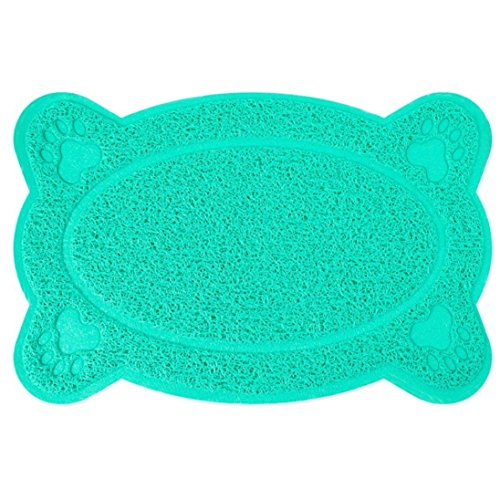 vmree Pet Placemat, Cat Dog Bone Shape Dish Bowl Feeding Pad Easy Clean Non-Slip Table Mat (Blue) - Sleeping Cat Food Bowl