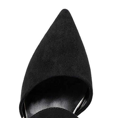 Nine Seven Cuero Moda Puntiagudos Tacones de Aguja con Hebilla para Mujer negro