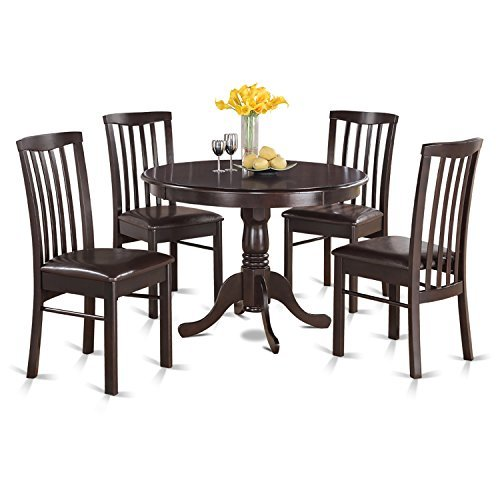 East West Furniture HART5-CAP-C 5-Piece Kitchen Table Set, Cappuccino Finish