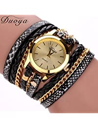 ODGear watches, Duoya Hot selling luxury fashion heart pendant women Wrist watches (Black)