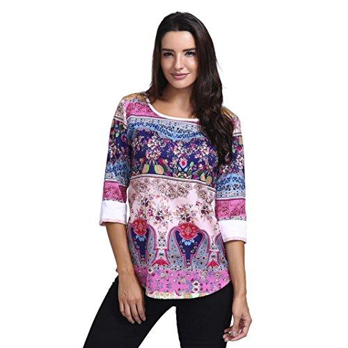Moda Mujer Otoño Pullover Camiseta O-Cuello Tres Cuartos Tapas Camisa Blusa ❤ Manadlian: Amazon.es: Ropa y accesorios