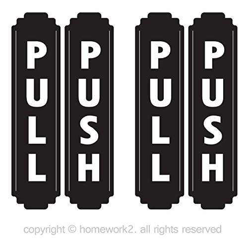 Homework2 Push & Pull Vertical Sign Stickers, Outdoor/Indoor Use, Vinyl Decals, UV Protected & Waterproof, 6.4 X 1.5 Inch - 4 Labels (Black and ()