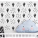 Cactus and Triangle Set Wall Decor Nursery Decals Vinyl Art Sticker Tribal Decoration Baby Kids Boy Girl Bedroom Room Mural Design YMX11 (Black)
