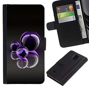 All Phone Most Case / Oferta Especial Cáscara Funda de cuero Monedero Cubierta de proteccion Caso / Wallet Case for Samsung Galaxy Note 4 IV // Purple Bubbles