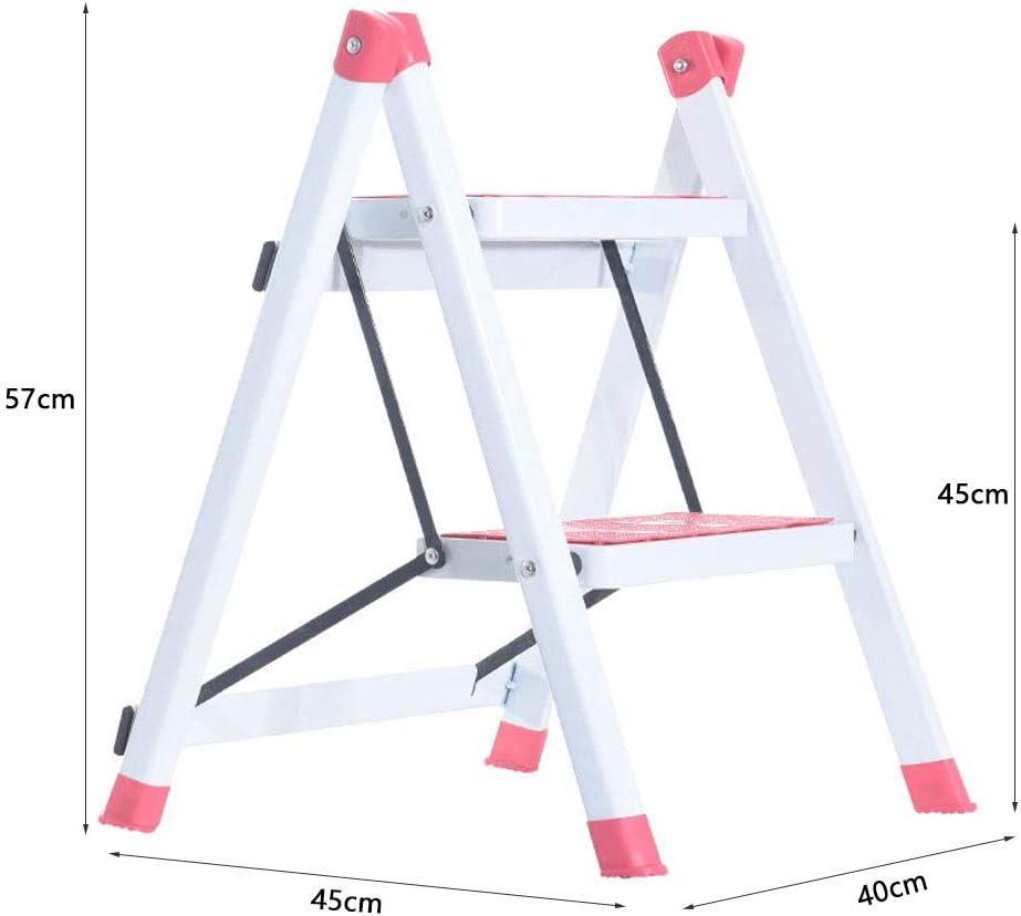 Mini Escalera De Dos Peldaños, Taburete De 2 Escalones, Escaleras De Tijera Plegables con Pedal Ancho, Escalera De Tijera De Acero Plegable para Baño De Cocina, 264 Lbs (120 Kg) ++ (Color :