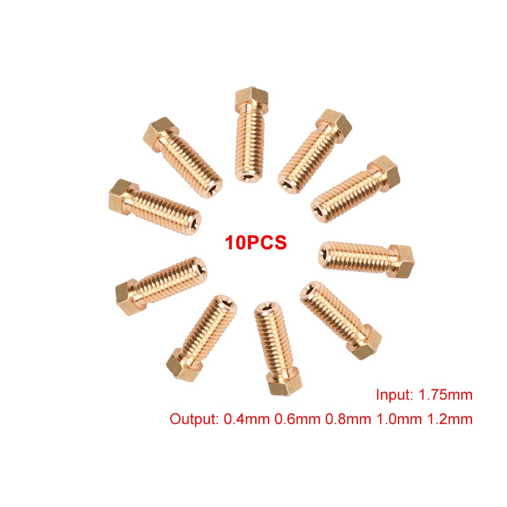 Mech Solutions Ltd 10 Pieces Volcano E3D Extruder for 1.75 mm Filament 3D Printer Brass Nozzle (5 Different Size 0.4mm, 0.6mm, 0.8mm, 1.0mm, 1.2mm) for 3D Printer Volcano-1.75-Brass-5-sizes