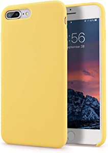 Segoi iPhone 8 Plus Case/iPhone 7 Plus Case, Liquid Silicone Gel Rubber Case Soft Microfiber Cloth Lining Cushion Compatible with iPhone 8 Plus 2017/ iPhone 7 Plus 2016 - Yellow