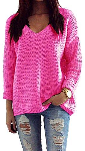 Mikos Donna Maglione Maglioncino Primavera Estate Manica Lunga Lavorato a Maglia 627 Neon Rosa