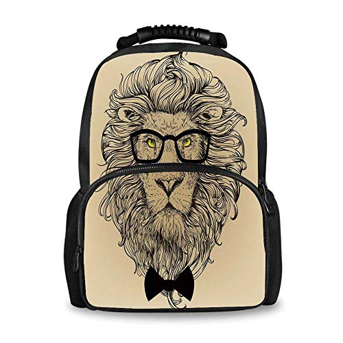 (Indie Adorable School Bag,Lion Character Portrait with Glasses and Bowtie Hipster Smart Cool Dandy for Boys,12