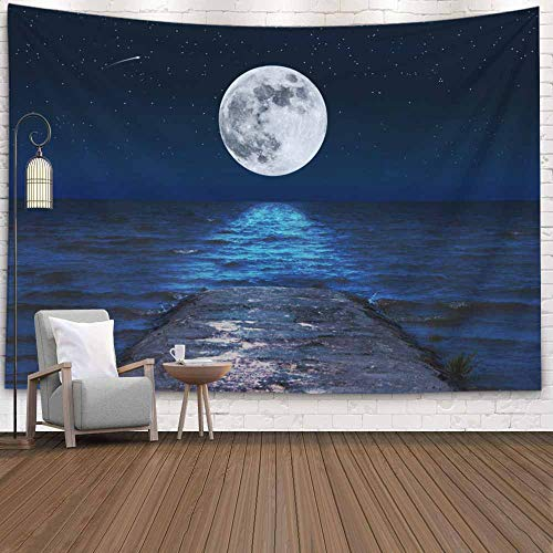 Fullentiart College Dorm Room Decor, Wall Art Living Room Bedroom Tapestry Full Moon Reflected Waves Sea Starry Night a Dinning Room Wall Decor Cool Dorm Room Decor 80X60 Inches (Questions To Ask About The Moon Landing)